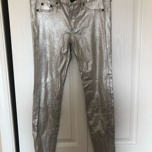 Rag & Bone muted silver lamb leather pants